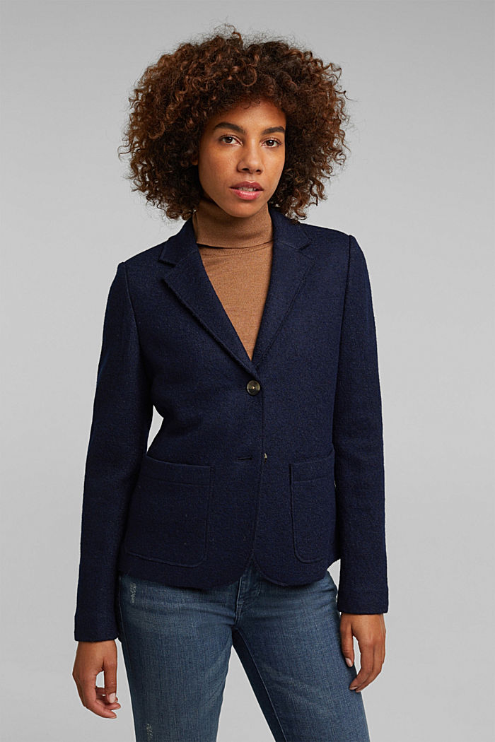 Wool blend: Blazer with unfinished edges, NAVY, detail image number 0