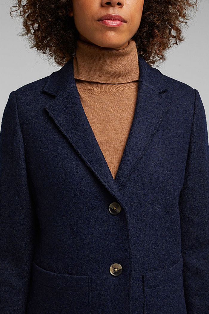 Wool blend: Blazer with unfinished edges, NAVY, detail image number 2