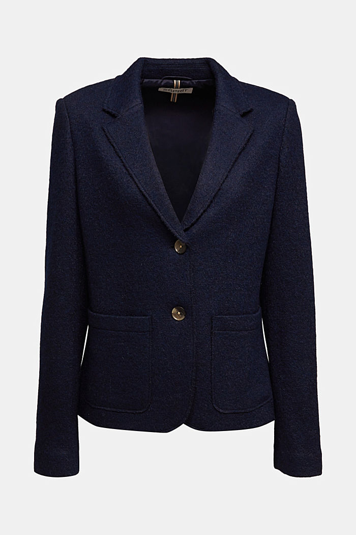 Wool blend: Blazer with unfinished edges, NAVY, detail image number 5