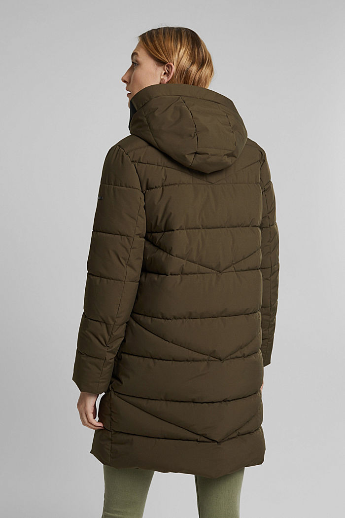 Recycled: quilted coat with a hood, KHAKI GREEN, detail image number 2
