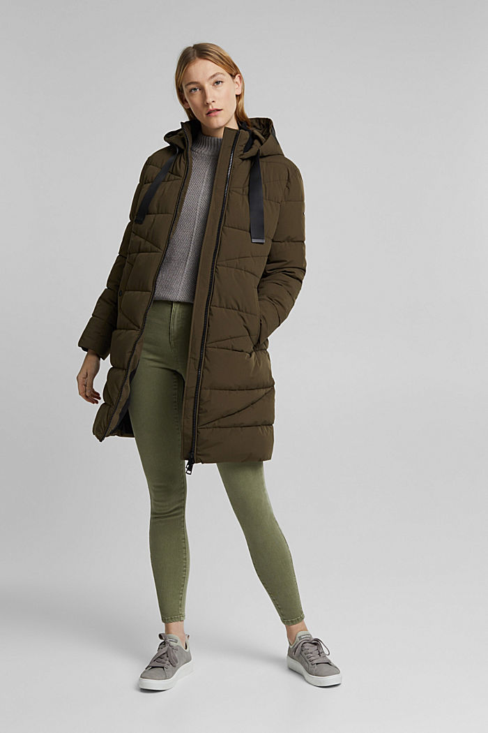 Recycled: quilted coat with a hood, KHAKI GREEN, detail image number 0