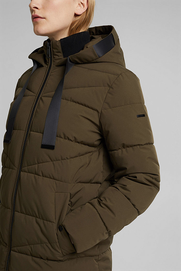 Recycled: quilted coat with a hood, KHAKI GREEN, detail image number 3