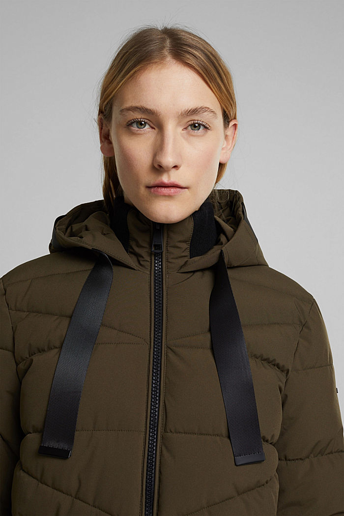 Recycled: quilted coat with a hood, KHAKI GREEN, detail image number 4