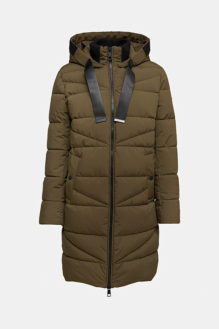 Recycled: quilted coat with a hood, KHAKI GREEN, detail image number 5