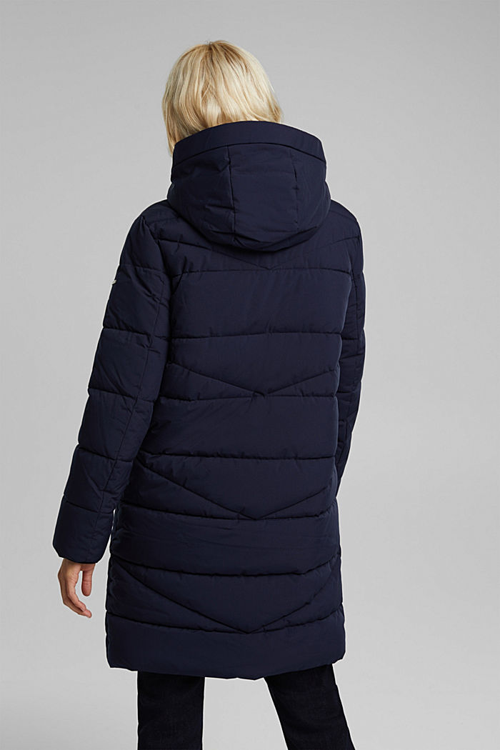 Recycled: quilted coat with a hood, NAVY, detail image number 3