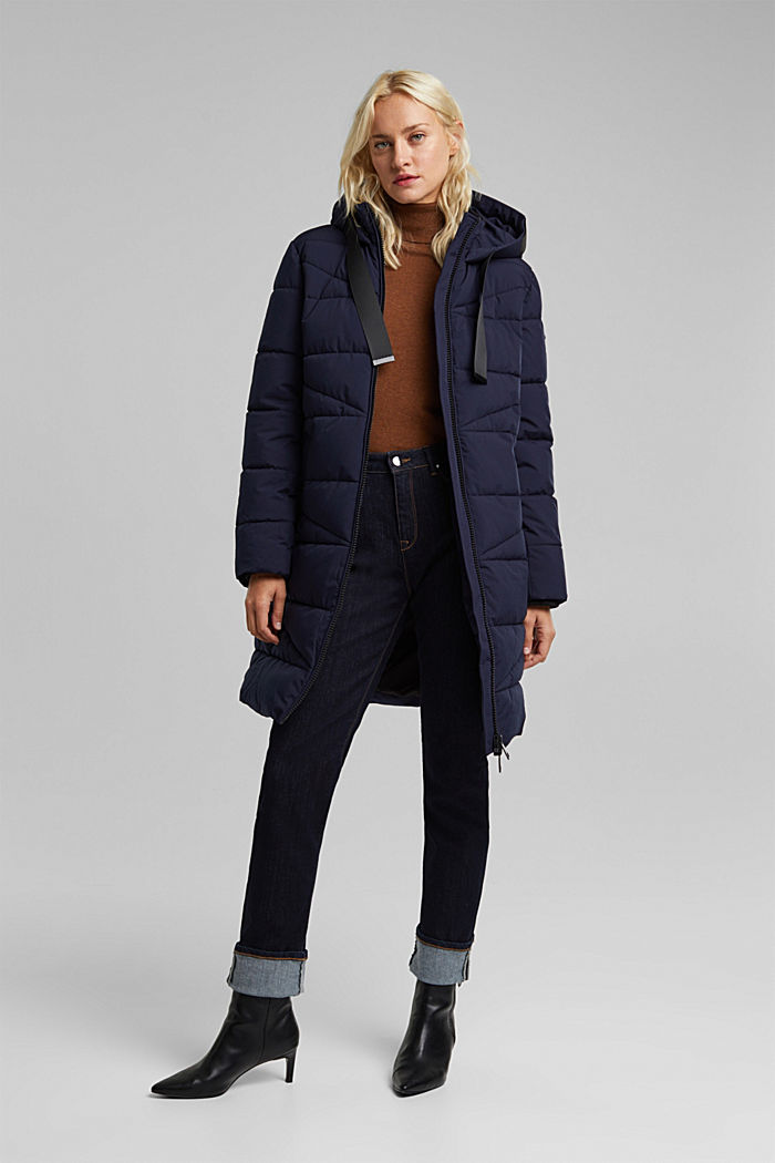 Recycled: quilted coat with a hood, NAVY, detail image number 1