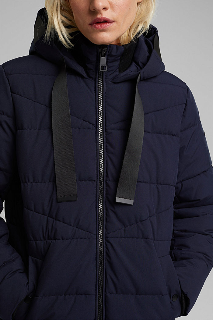 Recycled: quilted coat with a hood, NAVY, detail image number 2