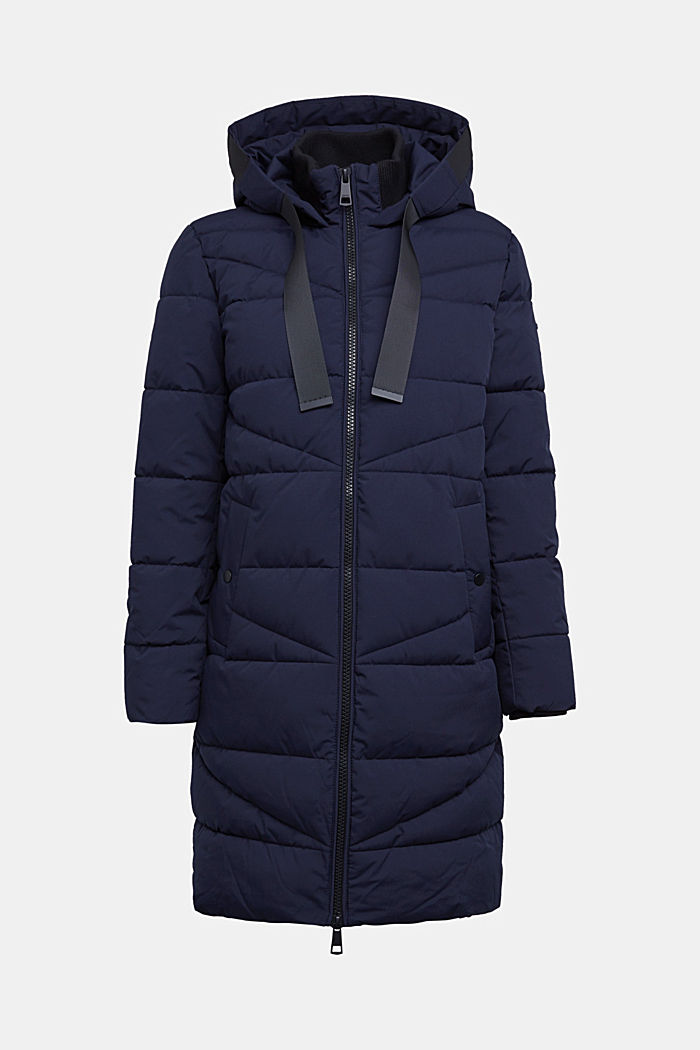 Recycled: quilted coat with a hood, NAVY, detail image number 5