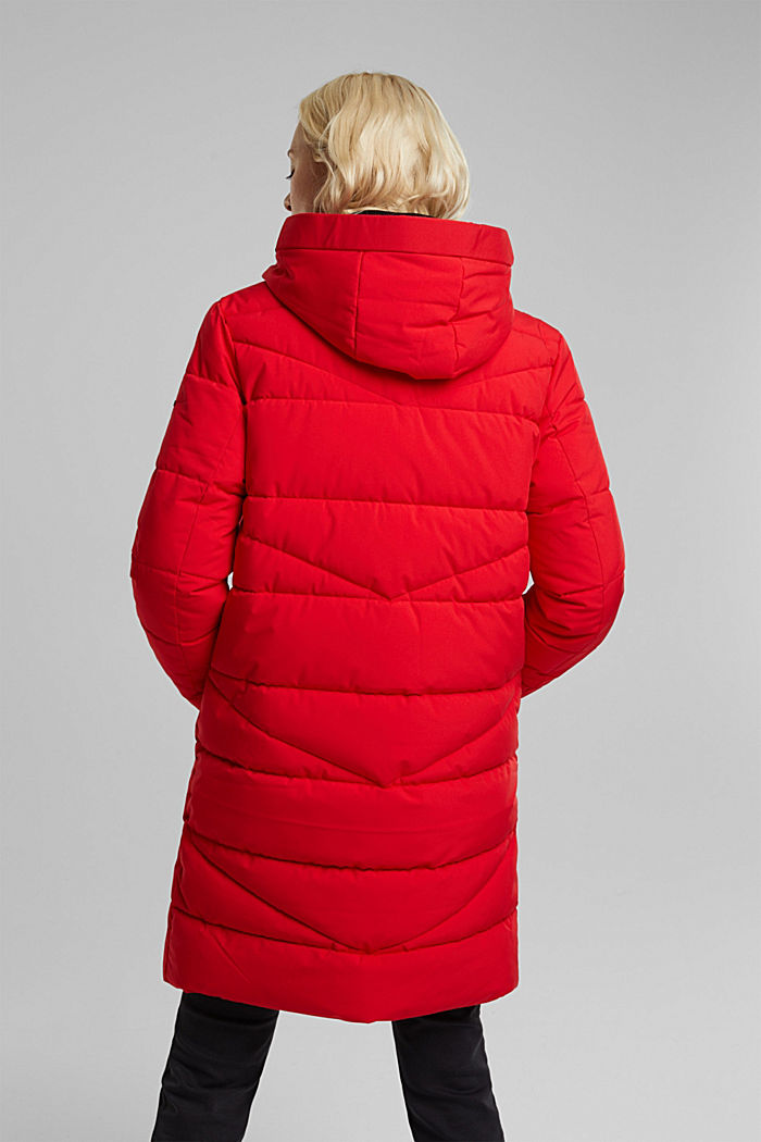 Recycled: quilted coat with a hood, RED, detail image number 3