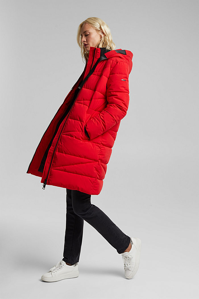Recycled: quilted coat with a hood, RED, detail image number 5