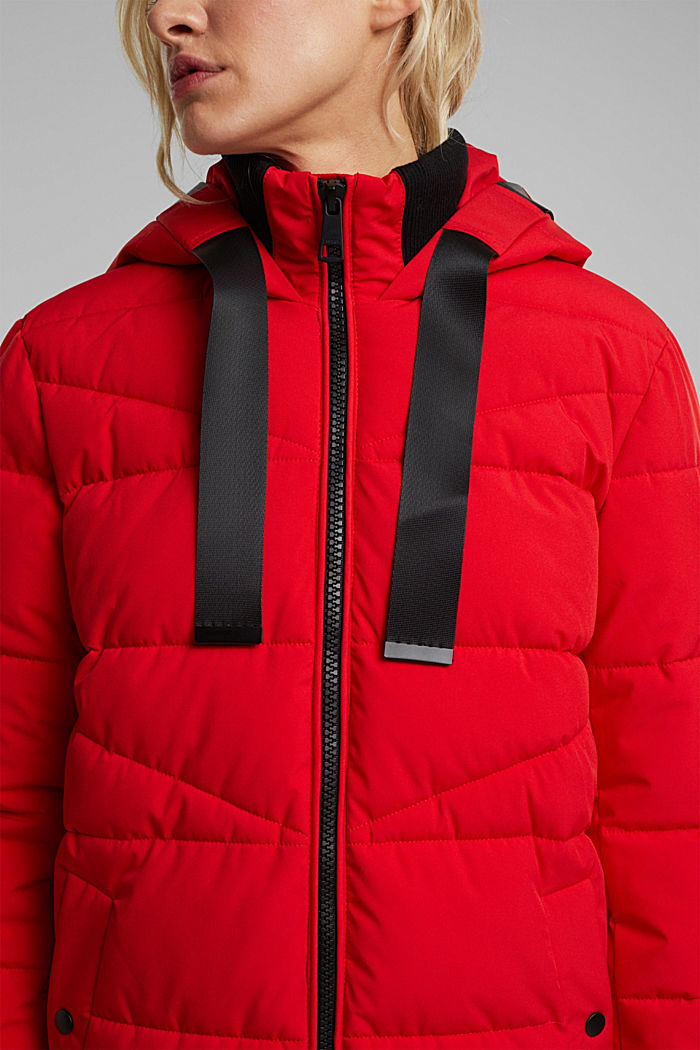 Recycled: quilted coat with a hood, RED, detail image number 2