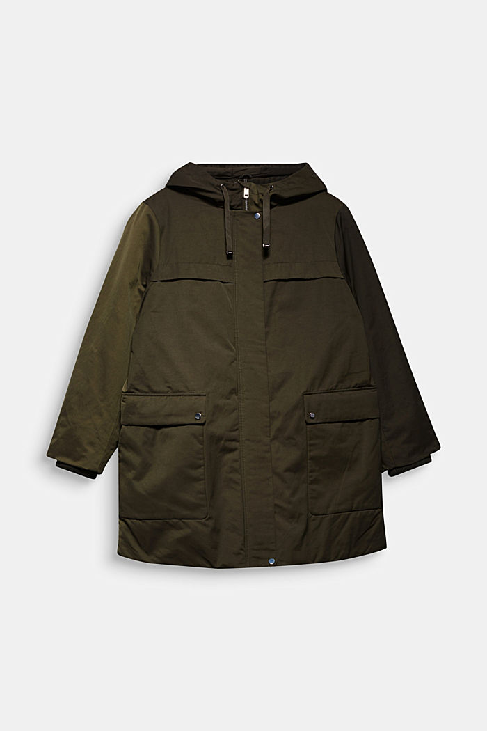CURVY nylon parka in blended cotton