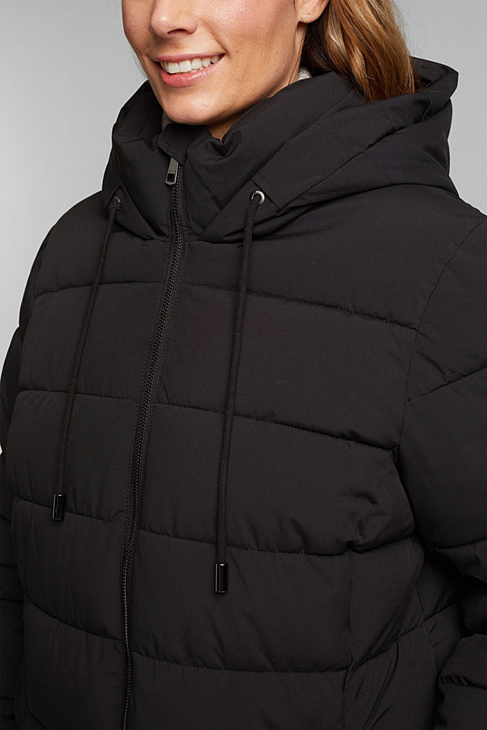 CURVY recycled: quilted coat with a hood, BLACK, detail image number 2
