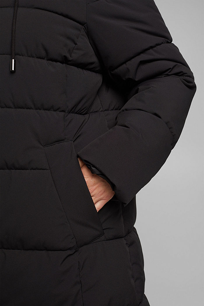 CURVY recycled: quilted coat with a hood, BLACK, detail image number 5