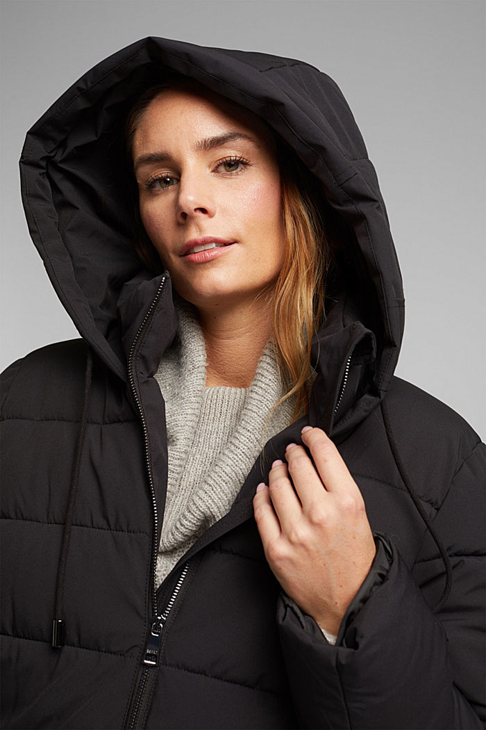 CURVY recycled: quilted coat with a hood, BLACK, detail image number 6