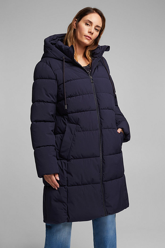 CURVY recycled: quilted coat with a hood