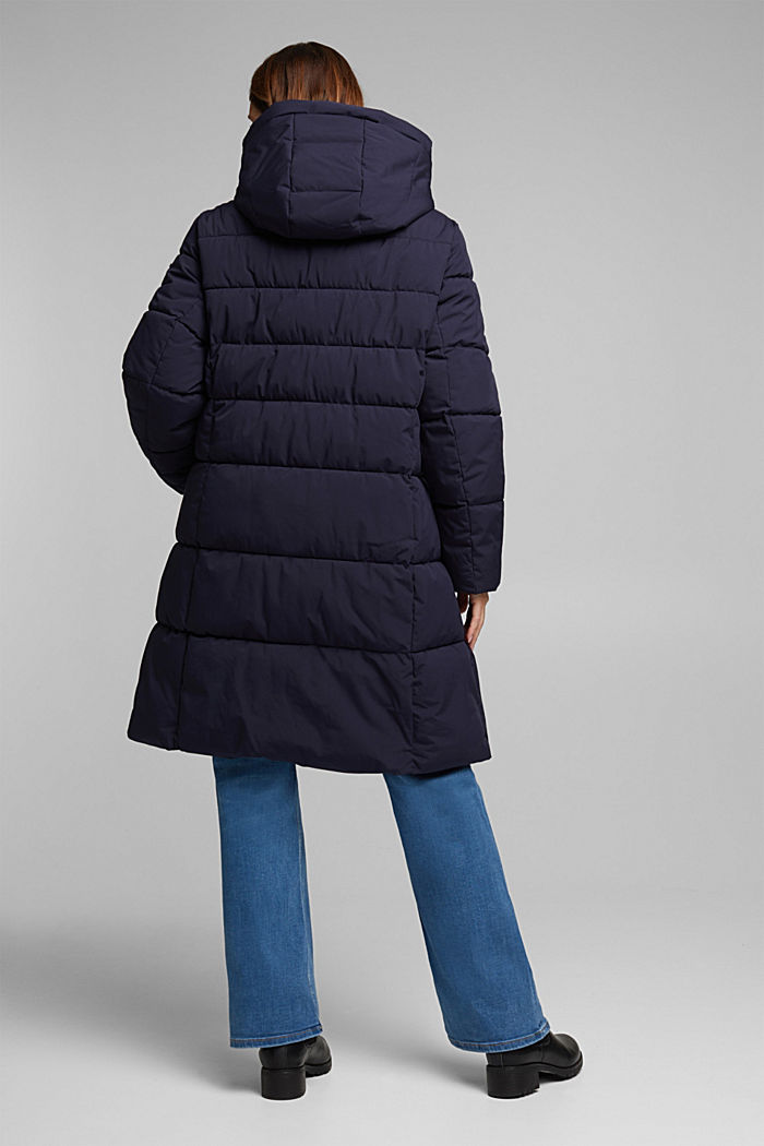 CURVY recycled: quilted coat with a hood, NAVY, detail image number 3