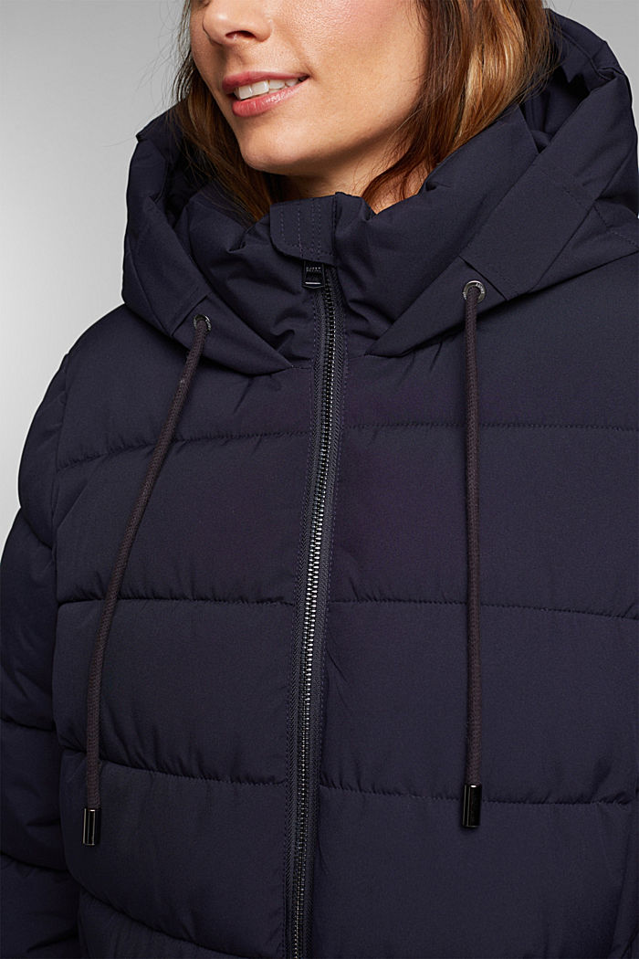 CURVY recycled: quilted coat with a hood, NAVY, detail image number 2