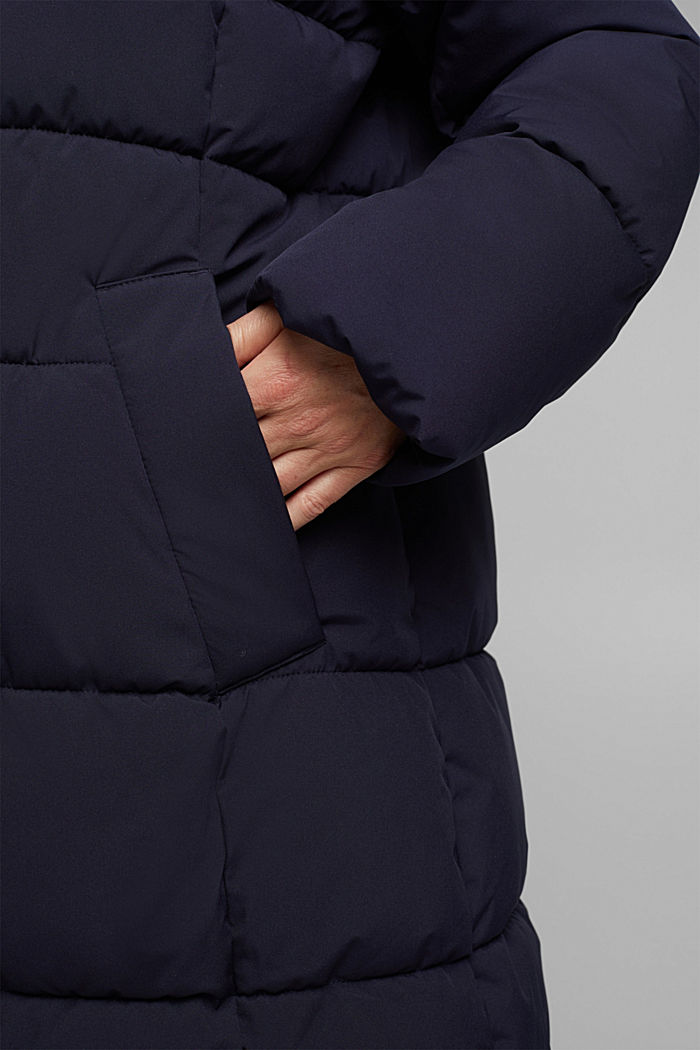 CURVY recycled: quilted coat with a hood, NAVY, detail image number 5