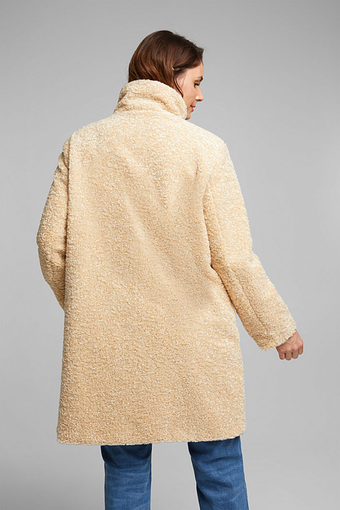 CURVY teddy fur coat with zip, CREAM BEIGE, detail image number 3
