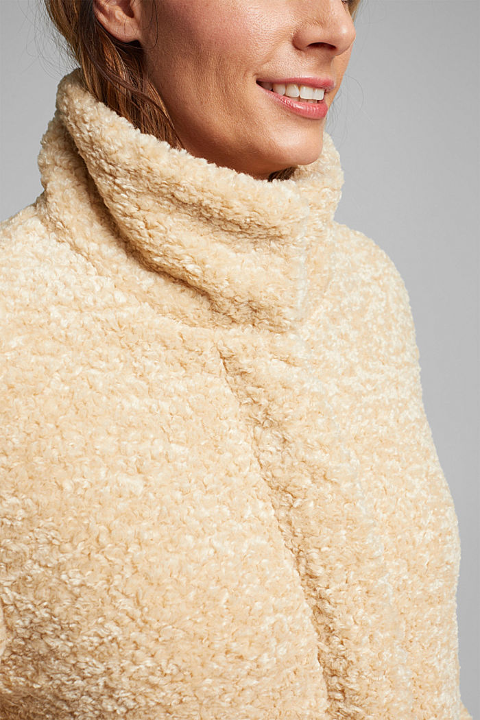 CURVY teddy fur coat with zip, CREAM BEIGE, detail image number 2