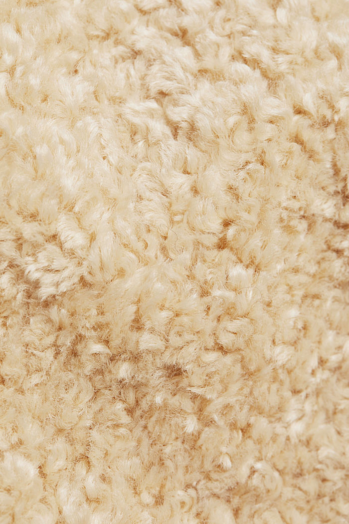 CURVY teddy fur coat with zip, CREAM BEIGE, detail image number 4