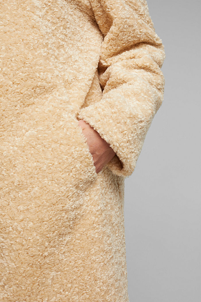 CURVY teddy fur coat with zip, CREAM BEIGE, detail image number 5