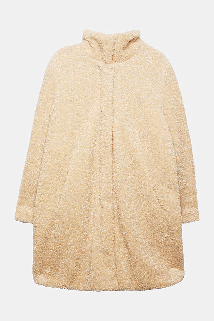 CURVY teddy fur coat with zip