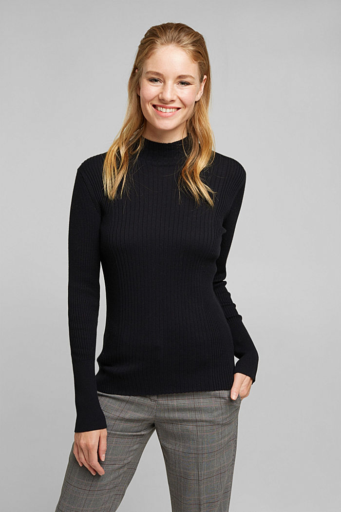 Silk blend: turtleneck top in organic cotton, BLACK, detail image number 0