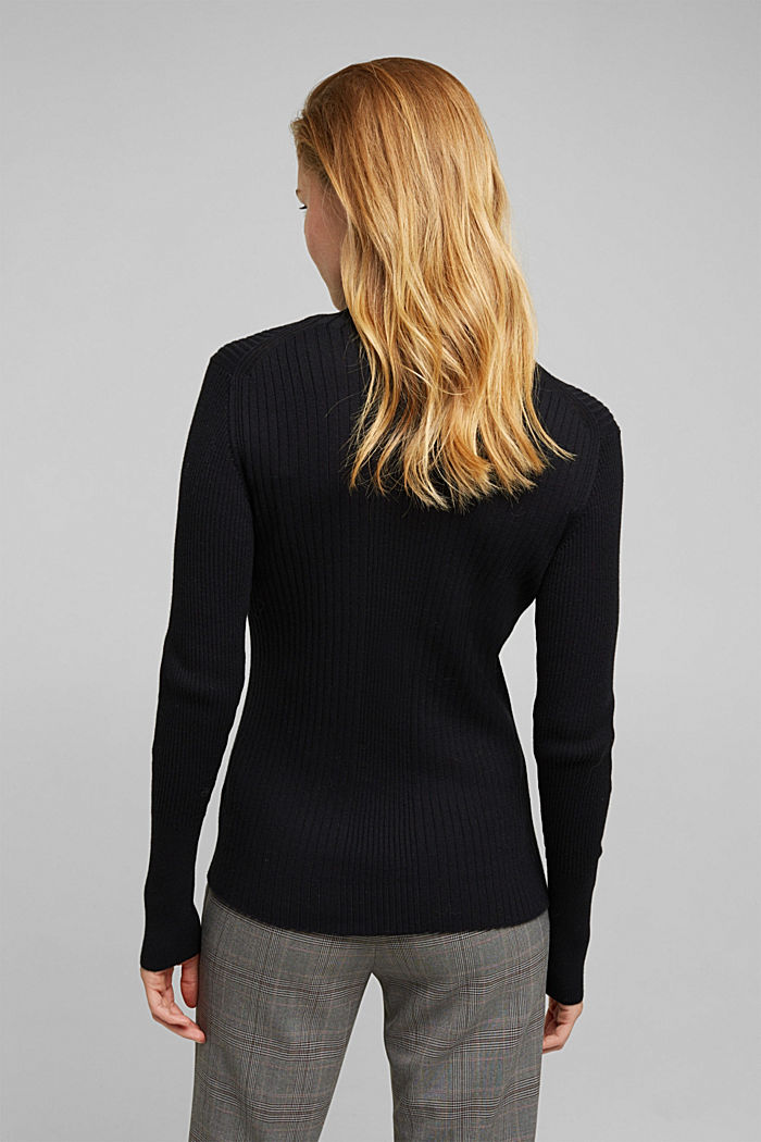 Silk blend: turtleneck top in organic cotton, BLACK, detail image number 3