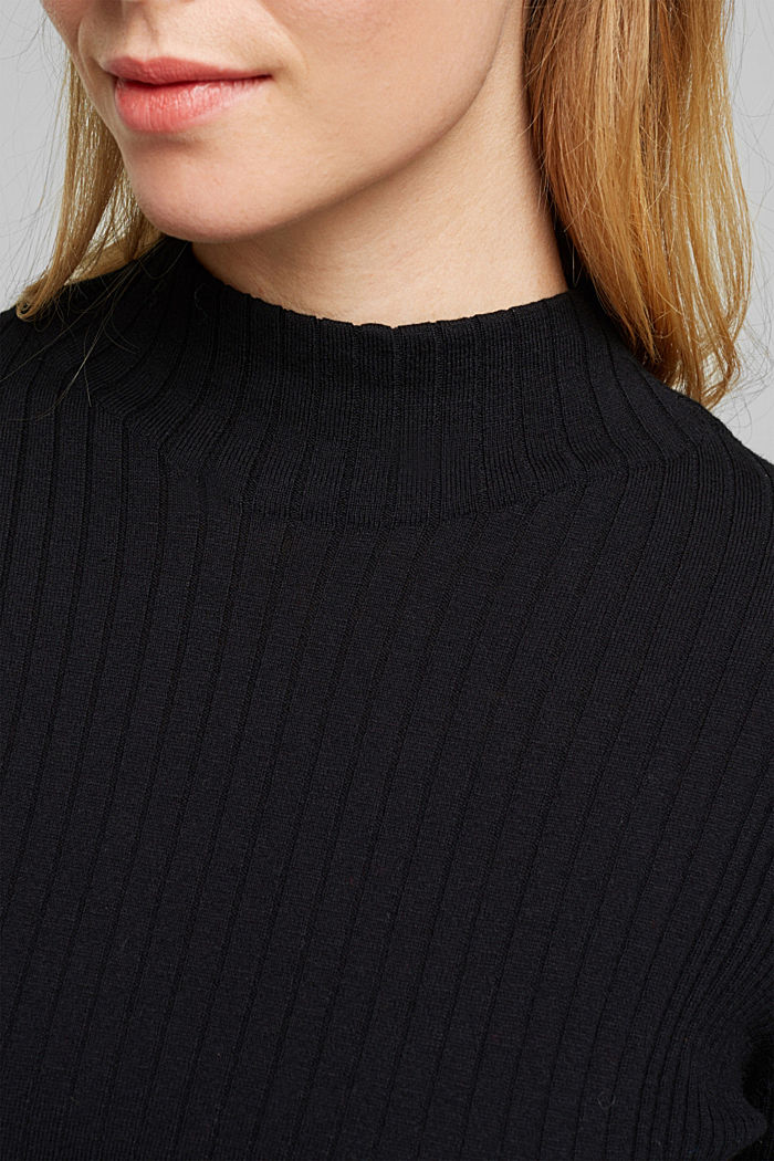 Silk blend: turtleneck top in organic cotton, BLACK, detail image number 2