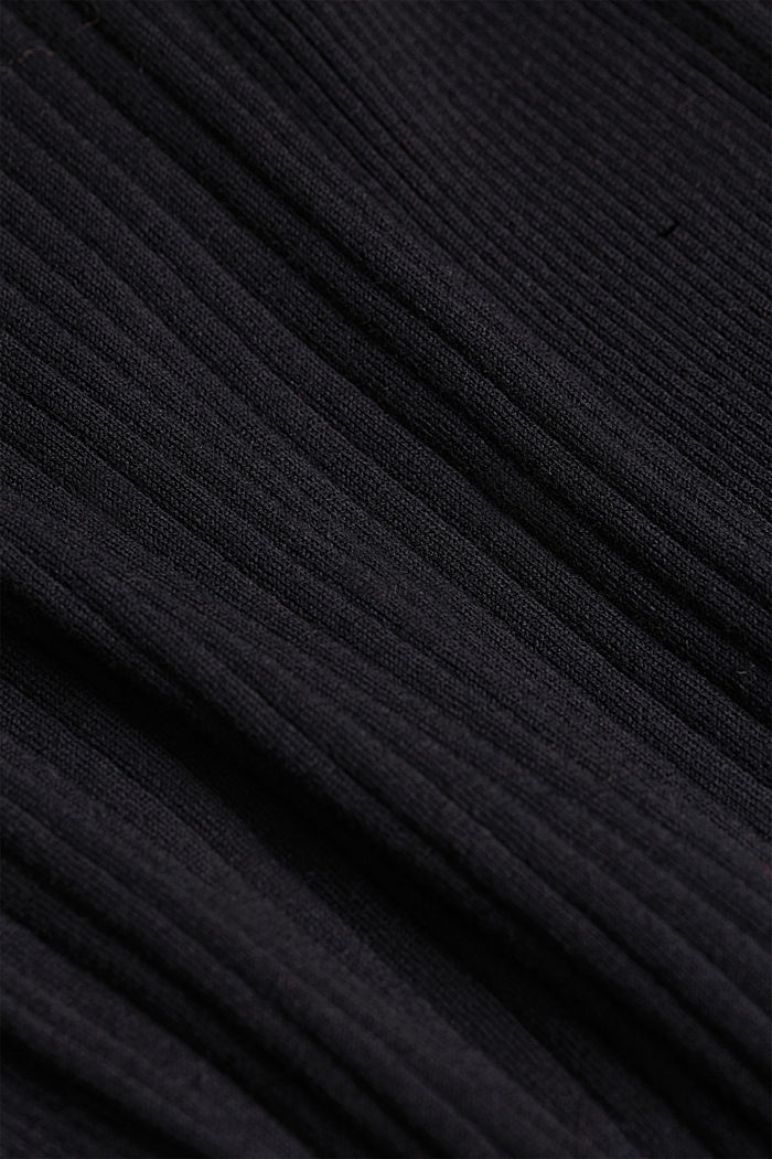 Silk blend: turtleneck top in organic cotton, BLACK, detail image number 4