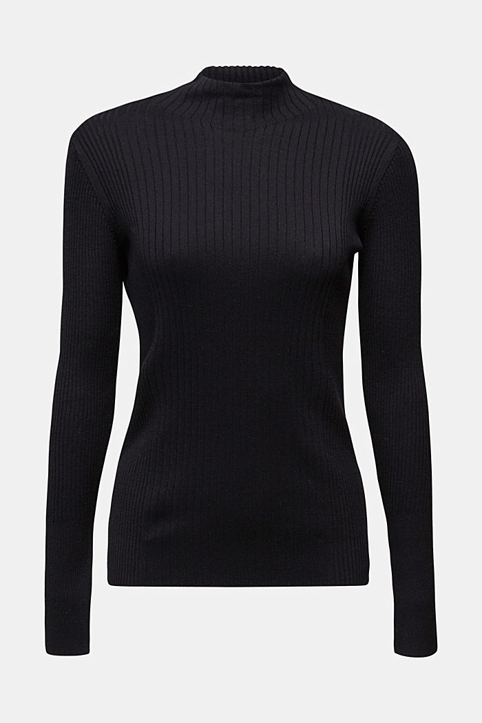 Silk blend: turtleneck top in organic cotton, BLACK, detail image number 5