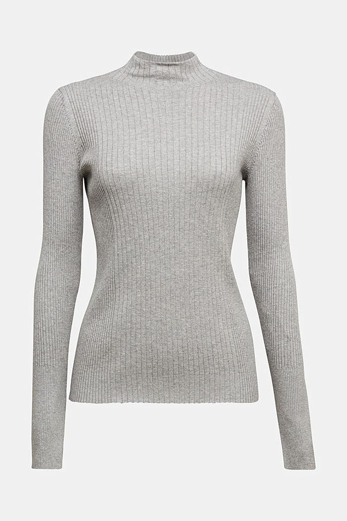 Silk blend: turtleneck top in organic cotton, MEDIUM GREY, detail image number 5
