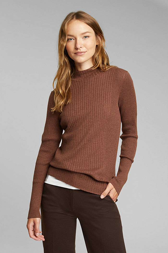 Silk blend: turtleneck top in organic cotton, BROWN, overview