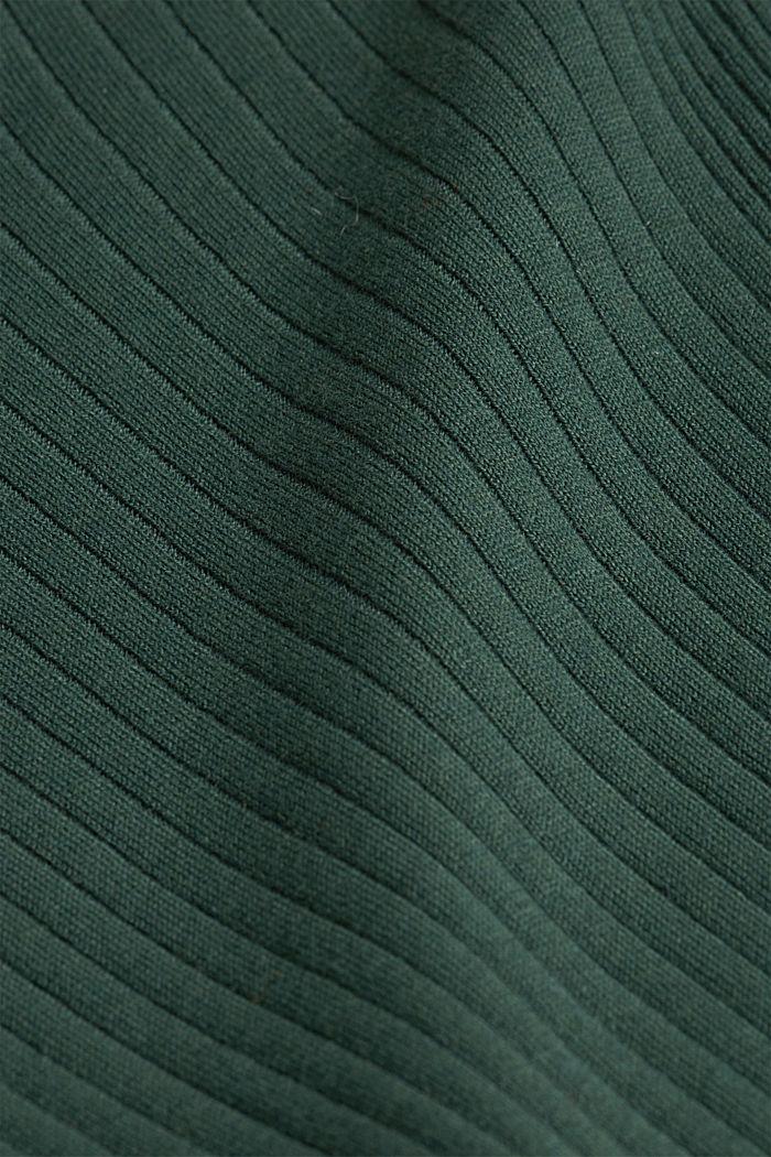 Silk blend: turtleneck top in organic cotton, DARK GREEN, detail image number 3