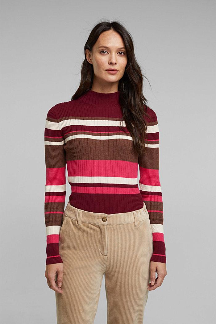 Silk blend: turtleneck top in organic cotton, BORDEAUX RED, detail image number 0