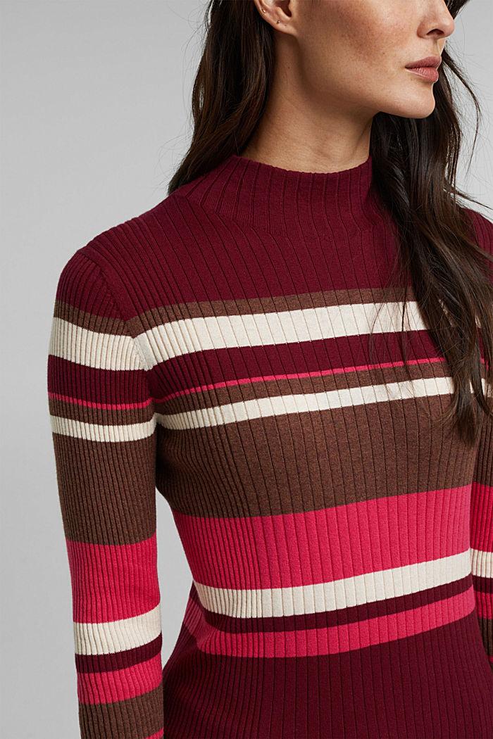 Silk blend: turtleneck top in organic cotton, BORDEAUX RED, detail image number 2