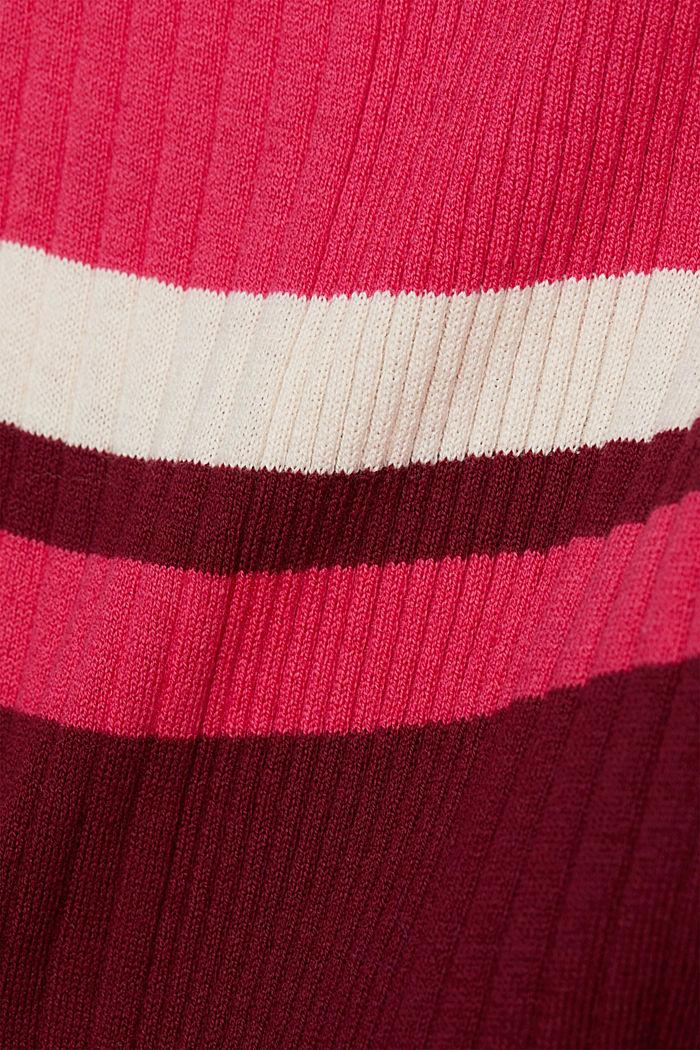 Silk blend: turtleneck top in organic cotton, BORDEAUX RED, detail image number 4
