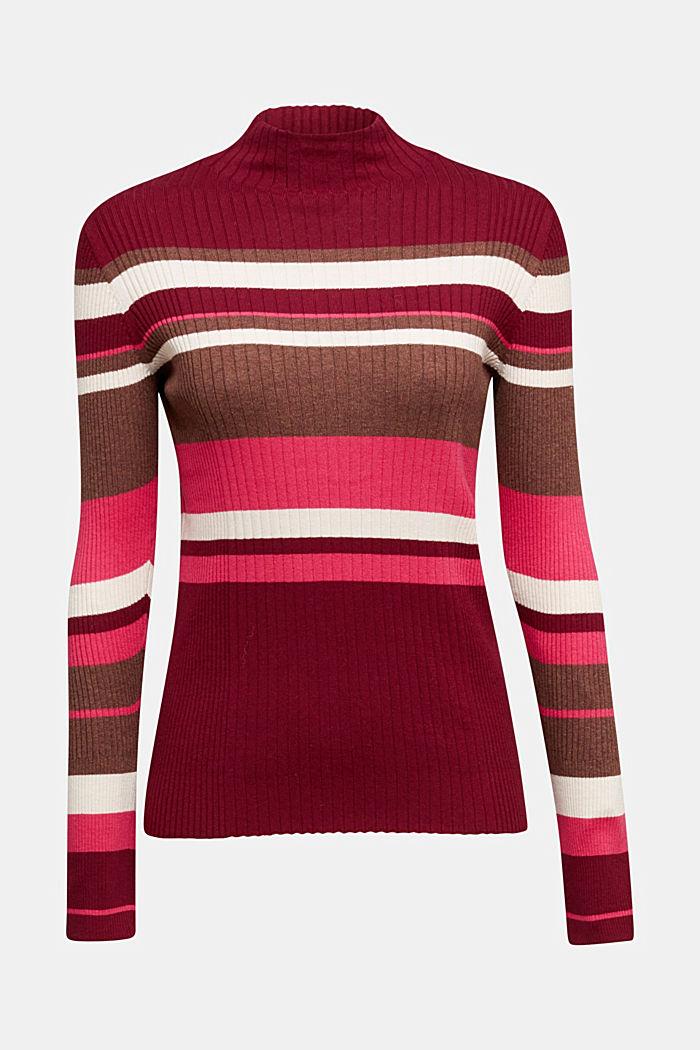 Silk blend: turtleneck top in organic cotton, BORDEAUX RED, detail image number 6