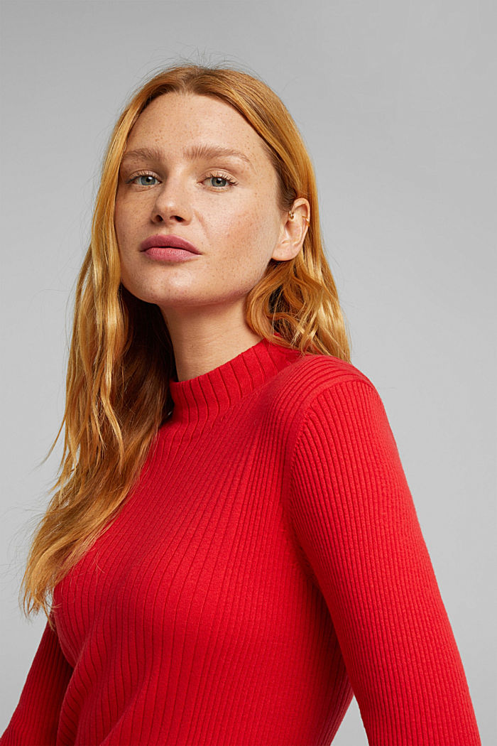 Silk blend: turtleneck top in organic cotton, RED, detail image number 5