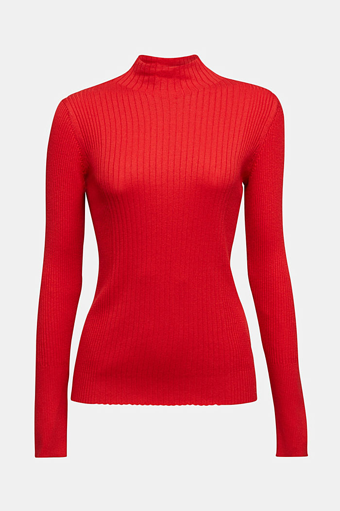 Silk blend: turtleneck top in organic cotton, RED, detail image number 6