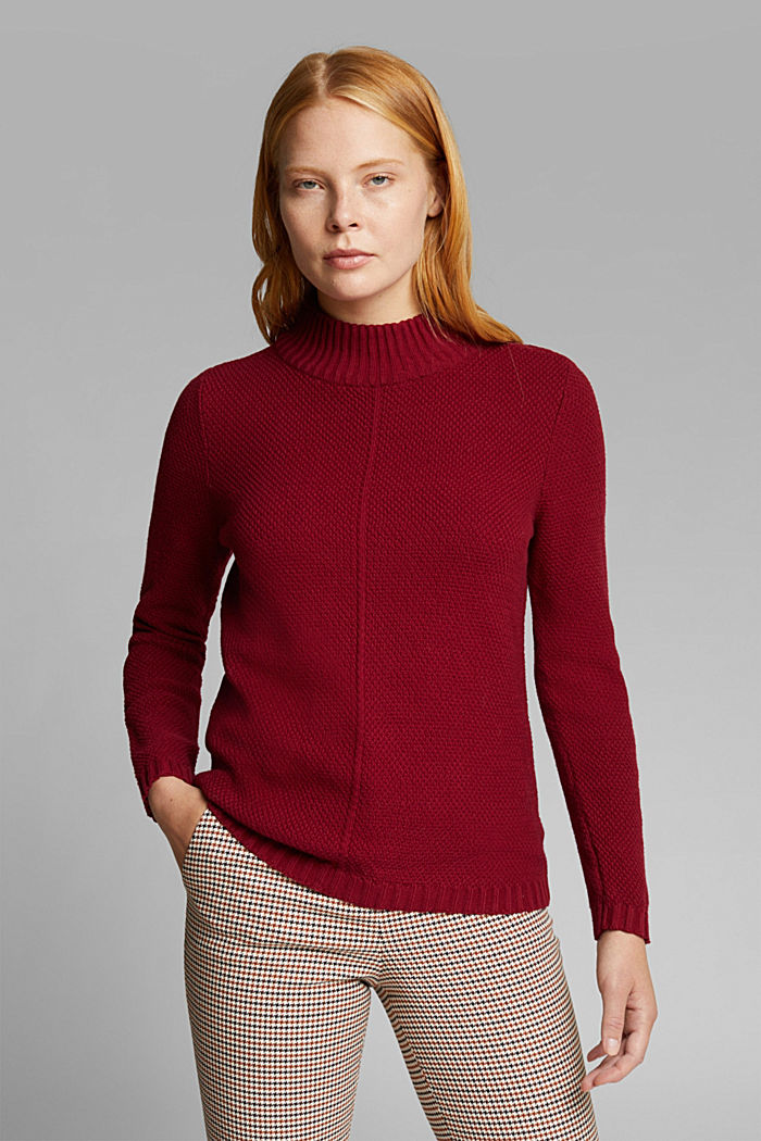 Jumper made of 100% organic cotton, BORDEAUX RED, detail image number 0