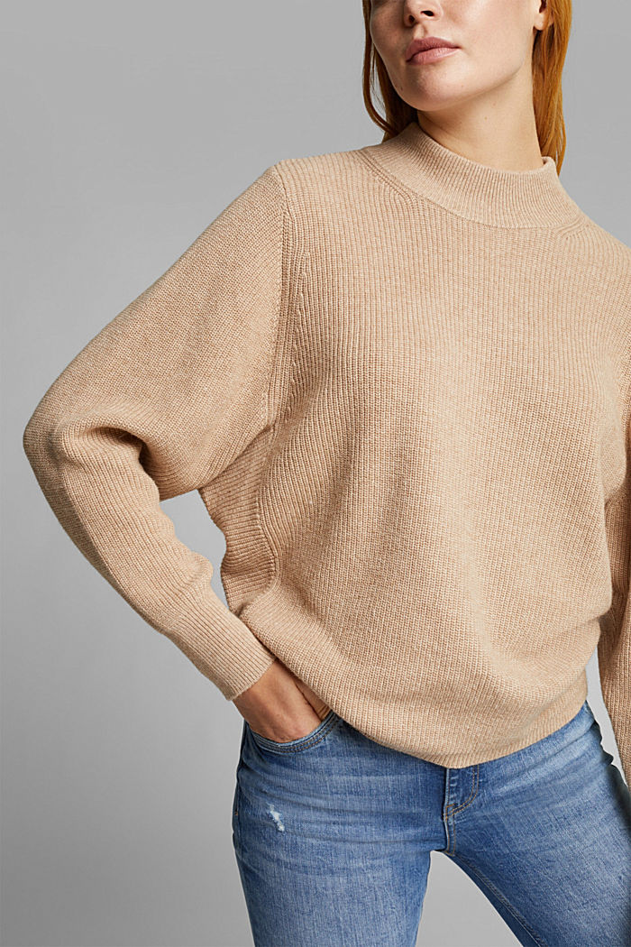 Ribbed jumper with alpaca