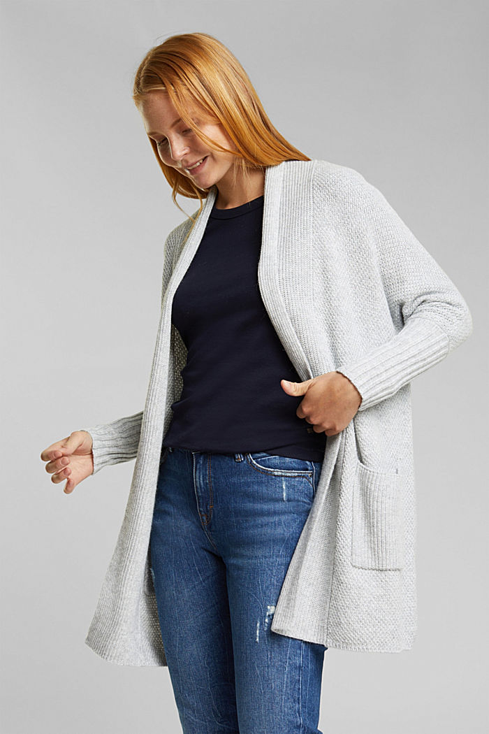 Long cardigan with alpaca