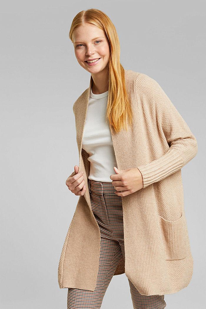 Long cardigan with alpaca, BEIGE, detail image number 0