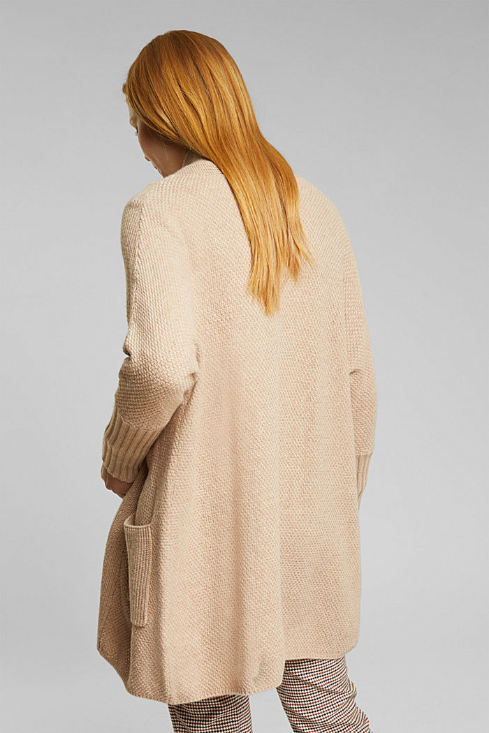 Long cardigan with alpaca, BEIGE, detail image number 3