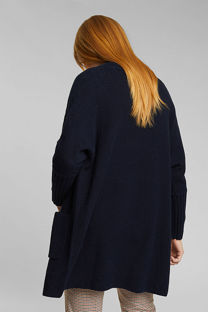 Long cardigan with alpaca, NAVY, detail image number 3