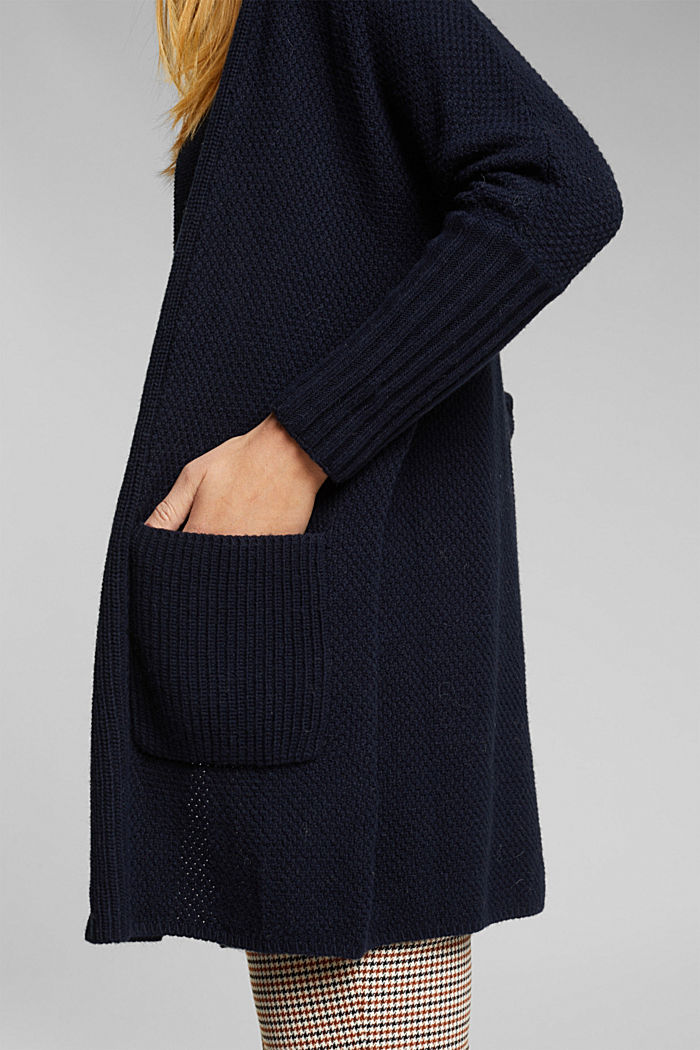 Long cardigan with alpaca, NAVY, detail image number 2