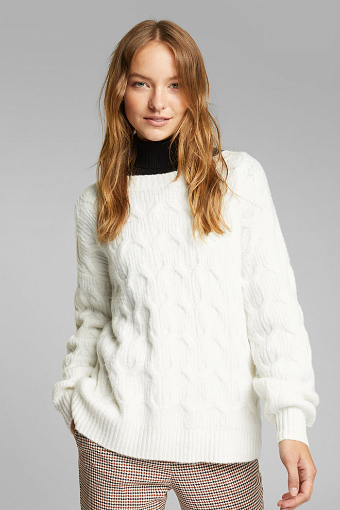 With wool: jumper with a cable pattern, OFF WHITE, detail image number 0